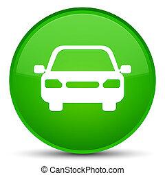 Car icon special green round button