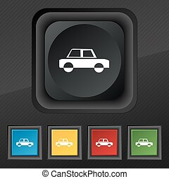 Car icon symbol. Set of five colorful, stylish buttons on black texture for your design. Vector