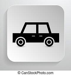 Car Icon. Vector Black Automobile Symbol on Paper Background.