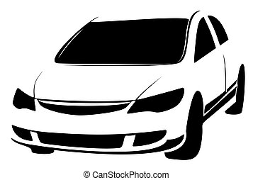 Car Icon Vector. Hatchback symbol. Black illustration on white background