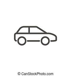 Car icon vector. Line drawing symbol.