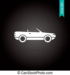 Car Icon Vector White on Black
