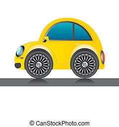 car, icon., vetorial, lustroso, amarela