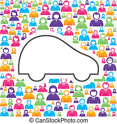 Car icon with in group of people