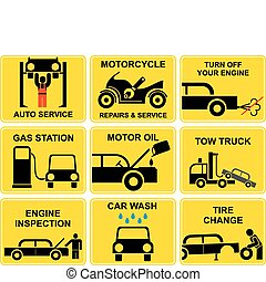 Set of vector signs with auto repair icons. Auto and moto service. Gas station, tire and motor oil change, car wash. Engine inspection. Black and yellow.