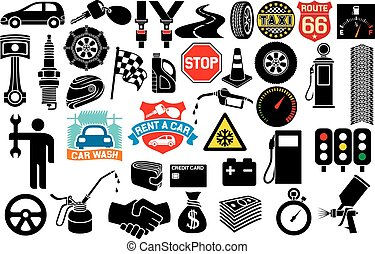 car icons collection (auto and transport elements, tire...