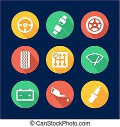 Car Icons Flat Design Circle