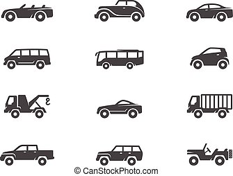 Car icons in black & white.