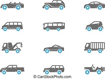 Car icons in duo tone colors.
