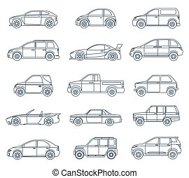 Car Icons in the Linear Style