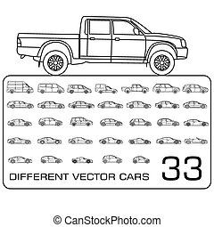 Car icons line drawing set