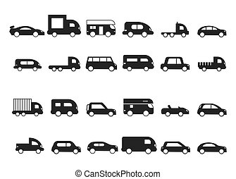 Car icons. Pictograms of black transport truck suv minivan...