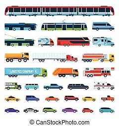 Car Icons Set 2 - Set Of Cartoon Flat Design City...