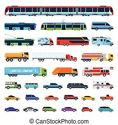 Car Icons Set 2 - Set Of Cartoon Flat Design City...