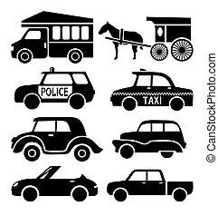 car icons set, black auto pictogram collection