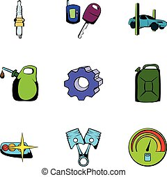 Car icons set, cartoon style