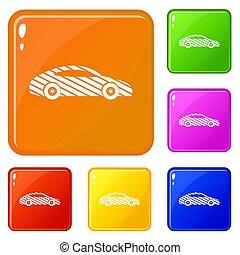 Car icons set color