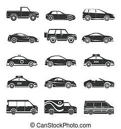 Car icons set. Hatchback and jeep, lorry and trailer,...