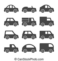 Car Icons Set on White Background. Vector