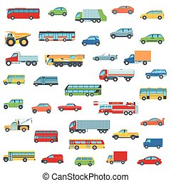 Car Icons Set - Set Of Cartoon Flat Design Car, Bus and...