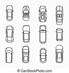 Car icons top view set. Automobile and vehicle, vector...
