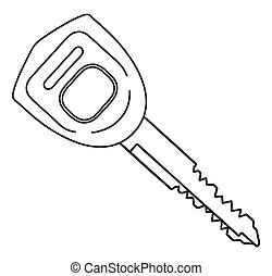 Car Ignition Key Outline - A typical automobile ignition key...