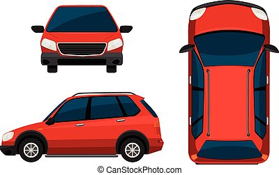 Car - Illustration of different position of a red car