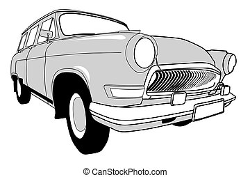 car, ilustração, fundo, vetorial, retro, branca