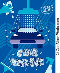 car, ilustração, lavagem
