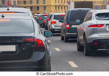 Car in a Big Traffic Jam.
