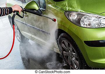 Car in a car wash