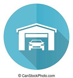 Car in a garage blue vector icon, flat design illustration in eps 10