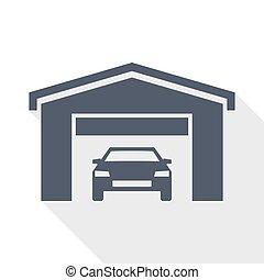 Car in a garage flat design vector icon