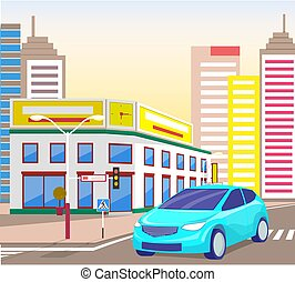 Car in City Center, Downtown Street with Cityscape