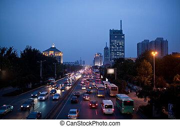 car in city street