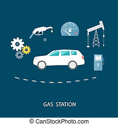 Car in gas station. Fuel petrol dispenser pump