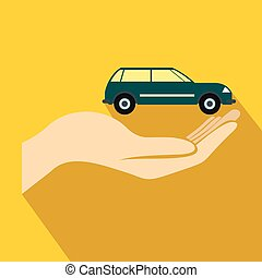 Car in hand icon, flat style