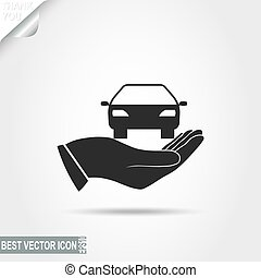 Car in Hand vector icon