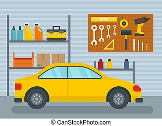 Car in home garage background, flat style - Car in home...