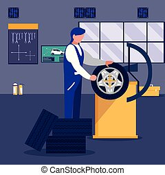 car in maintenance workshop with mechanic working