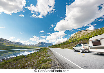 Car in mountains of Norway, Europe
