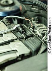 Car in service repairing. Auto repair shop.