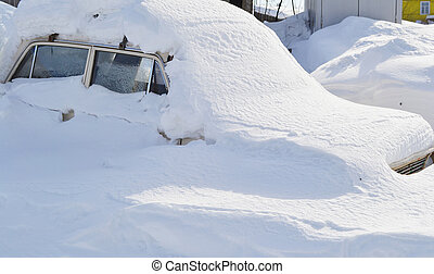 Car in snowbank - The photo of car in snowbank in winter