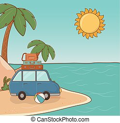 car in the beach scene