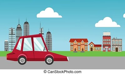 Car in the city HD animation - Car passing by city urban...