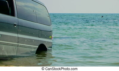 Car in the water
