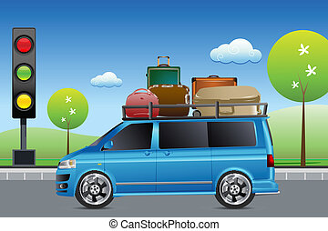 car in traffic with luggage - illustration of car in traffic...
