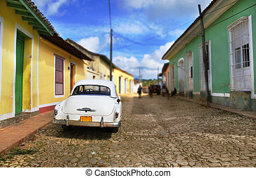 Classic vintage american car in the streets of Trinidad town, cuba