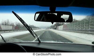 Car in Winter, Highway