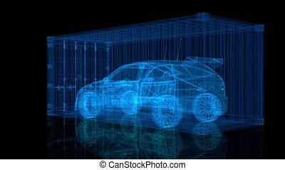 Car inside a container. Rotation hologram. Looping motion animated automobile.